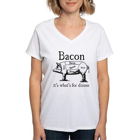 Bacon: It's what's for dinner Women's V-Neck T-Shi