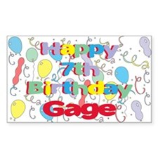 Gage's 7th Birthday Rectangle Decal
