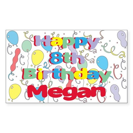 Megan's 8th Birthday Rectangle Sticker