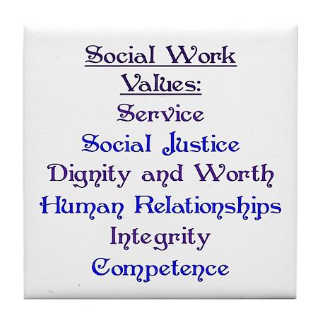 Social Work Values Tile Coaster