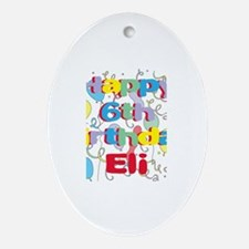 Eli's 6th Birthday Oval Ornament