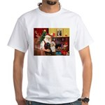 Santa's 2 Cockers White T-Shirt