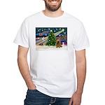 XmasMagic/Cocker (Brn) White T-Shirt
