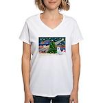 Xmas Magic & Akita Women's V-Neck T-Shirt