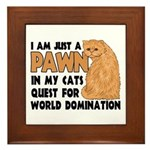 Cat's World Domination Framed Tile