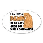 Cat's World Domination Oval Sticker