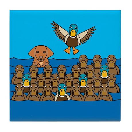 Toller in Ducks Tile Coaster