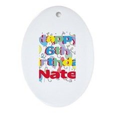 Nate's 6th Birthday Oval Ornament