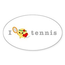 I Love Tennis Oval Decal