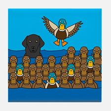 Flat Coat in Ducks Tile Coaster