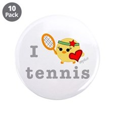 "I Love Tennis 3.5"" Button (10 pack)"