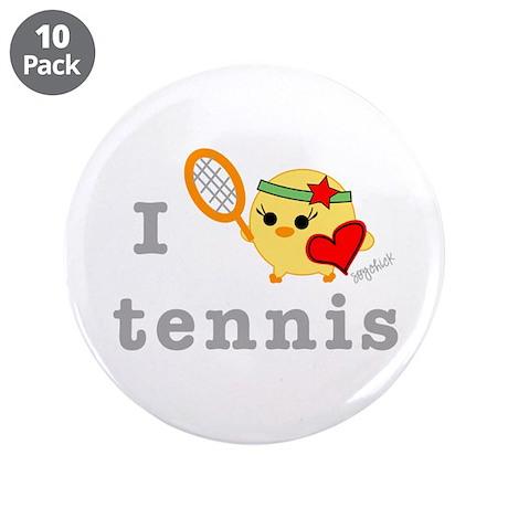 "I Love Tennis 3.5"" Button (10 pack)"
