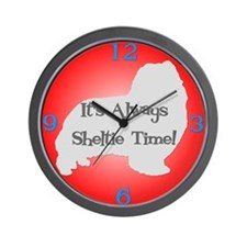 SHELTIE TIME Red Wall Clock