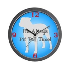 PIT BULL TIME Blue Wall Clock