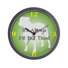 PIT BULL TIME Green Wall Clock