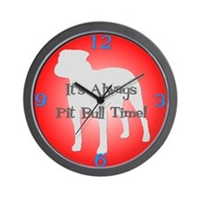 PIT BULL TIME Red Wall Clock
