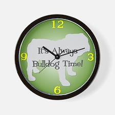 BULLDOG TIME Green Wall Clock