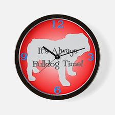 BULLDOG TIME Red Wall Clock