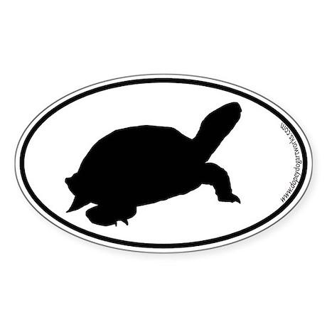 Turtle SILHOUETTE Oval Sticker