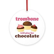 Funny Chocolate Trombone Ornament (Round)