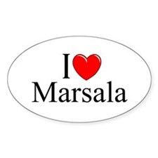 """I Love (Heart) Marsala"" Oval Decal"