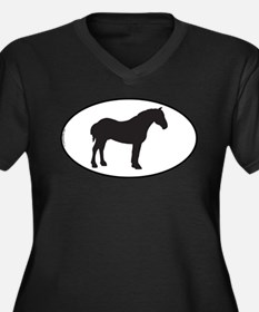 Percheron Women's Plus Size V-Neck Dark T-Shirt
