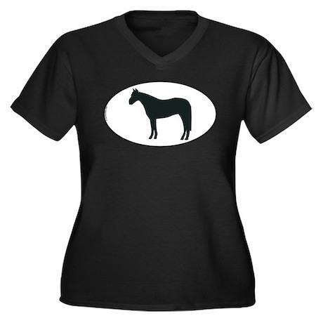 Horse Women's Plus Size V-Neck Dark T-Shirt
