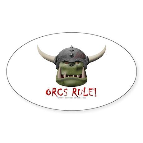 Orcs Rule (2) Oval Sticker (10 pk)
