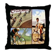 Vintage Cycling Cyclists Throw Pillow