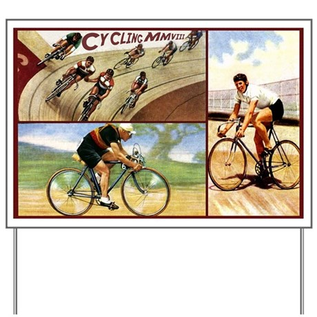 Vintage Cycling Cyclists Yard Sign