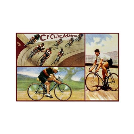 Vintage Cycling Cyclists Rectangle Magnet (100 pac
