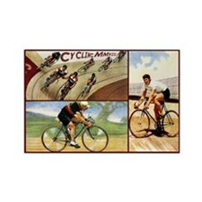 Vintage Cycling Cyclists Rectangle Magnet