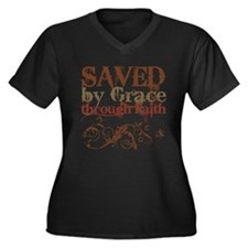 Saved by Grace Women's Plus Size V-Neck Dark T-Shi