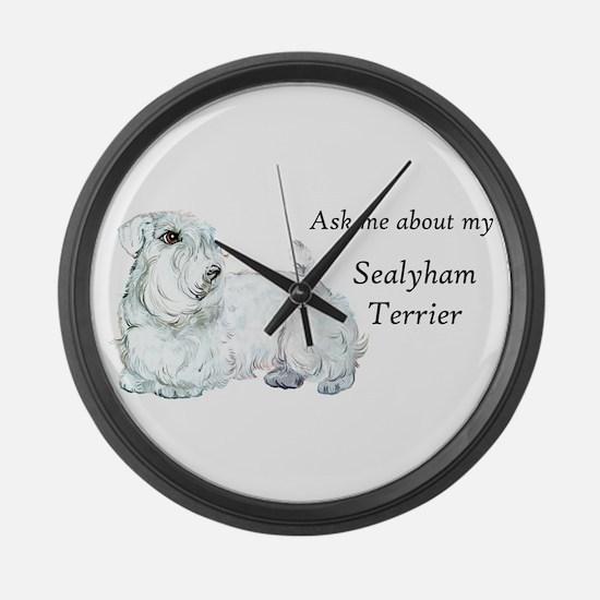 Sealyham Terrier Good Life Large Wall Clock
