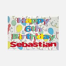 Sebastian's 6th Birthday Rectangle Magnet