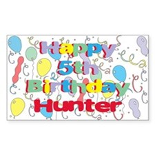 Hunter's 5th Birthday Rectangle Decal