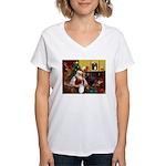 Santa's Aussie (Tri2) Women's V-Neck T-Shirt