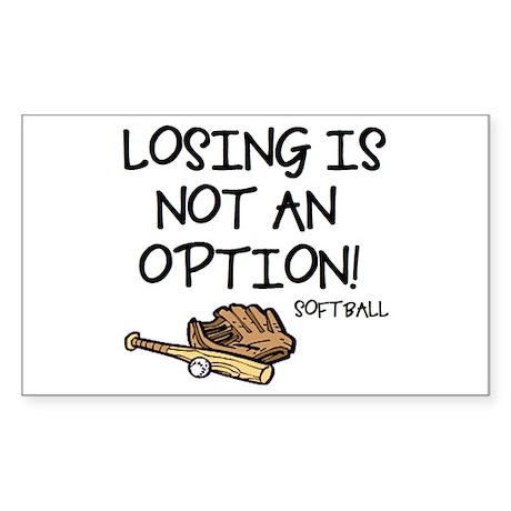 Losing Softball Rectangle Sticker