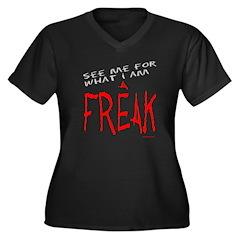 FREAK Women's Plus Size V-Neck Dark T-Shirt