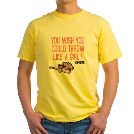 Throw Like a Girl Yellow T-Shirt