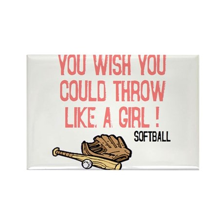 Throw Like a Girl Rectangle Magnet (10 pack)