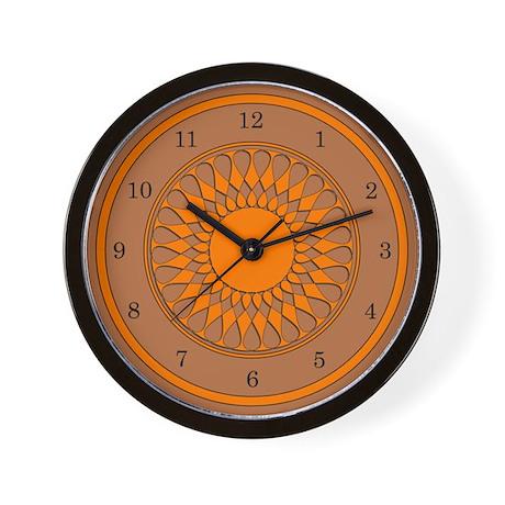 Brown and Orange Wall Clock