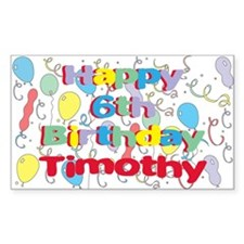 Timothy's 6th Birthday Rectangle Decal