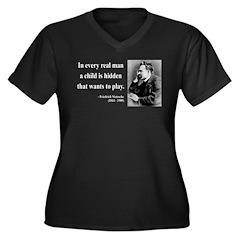Nietzsche 32 Women's Plus Size V-Neck Dark T-Shirt