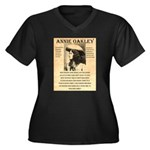 Annie Oakley Women's Plus Size V-Neck Dark T-Shirt