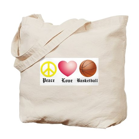 Peace, Love, Basketball Tote Bag