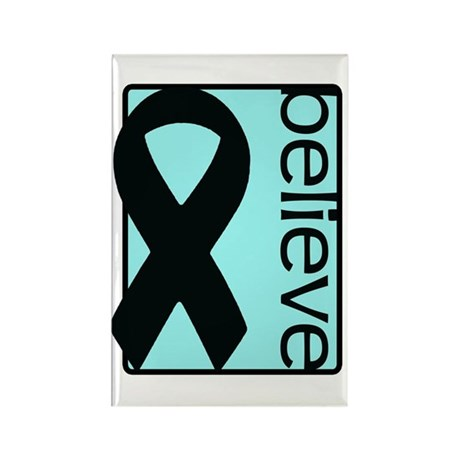 Light Blue (Believe) Ribbon Rectangle Magnet