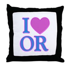I Love OR Throw Pillow