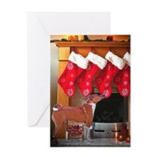 Basenji Christmas Stockings Greeting Card