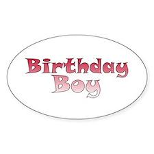 Birthday Boy (red) Oval Decal